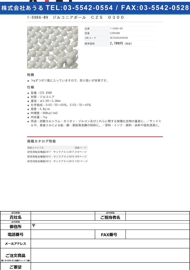 1-5986-09 ジルコニアボール CZS 0300