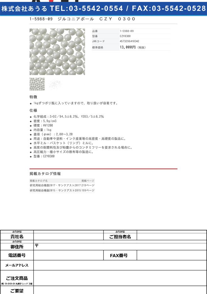 1-5988-09 ジルコニアボール CZY 0300