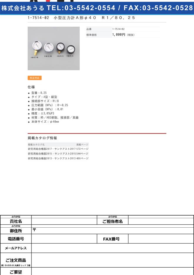 1-7514-02 小型圧力計A形 φ40 R1/80.25