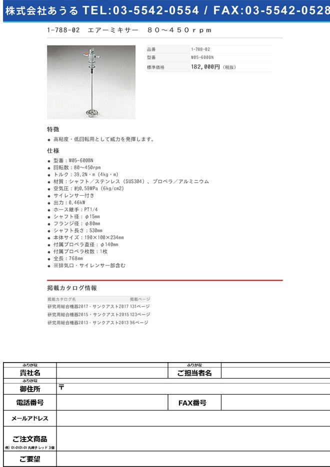 1-788-02 エアーミキサー 80~450rpm M05-600BN