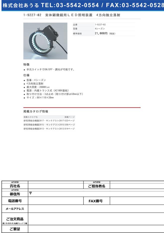 1-9227-02 実体顕微鏡用LED照明装置 4方向独立落射 4シーズン