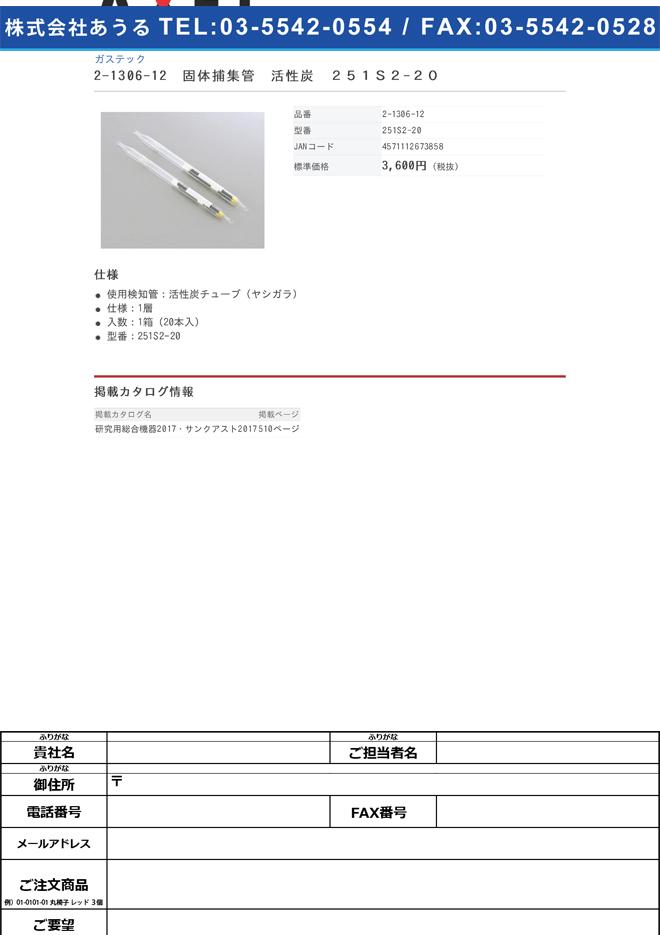 2-1306-12 固体捕集管 活性炭チューブ(ヤシガラ) 251S2-20