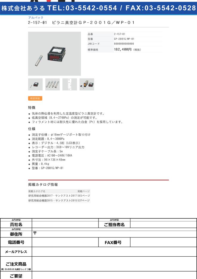 2-157-01 ピラニ真空計 GP-2001G+測定子WP-01 GP-2001G/WP-01