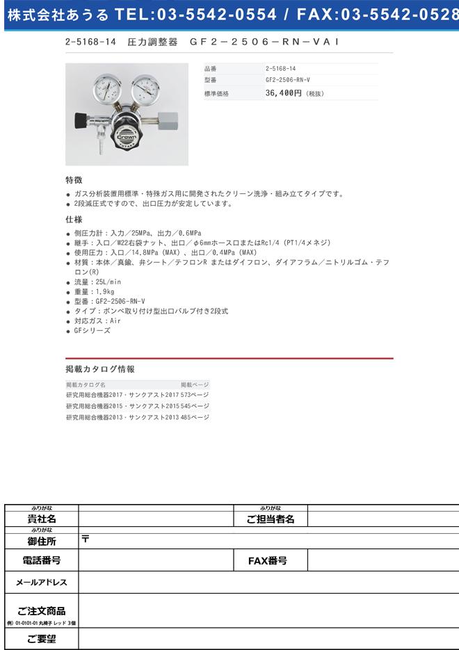 2-5168-14 圧力調整器(GFシリーズ) GF2-2506-RN-VAI