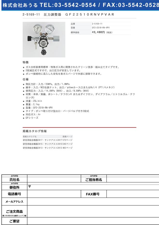 2-5169-11 圧力調整器(GFシリーズ) GF2-2510-RN-VPV