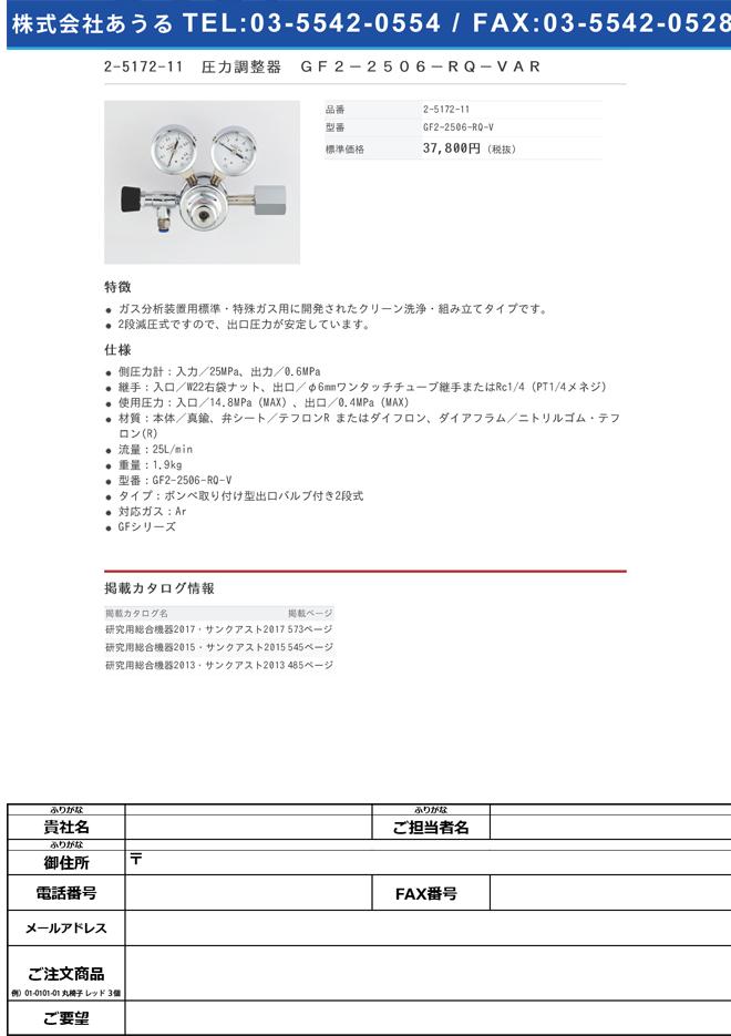 2-5172-11 圧力調整器(GFシリーズ) GF2-2506-RQ-VAR
