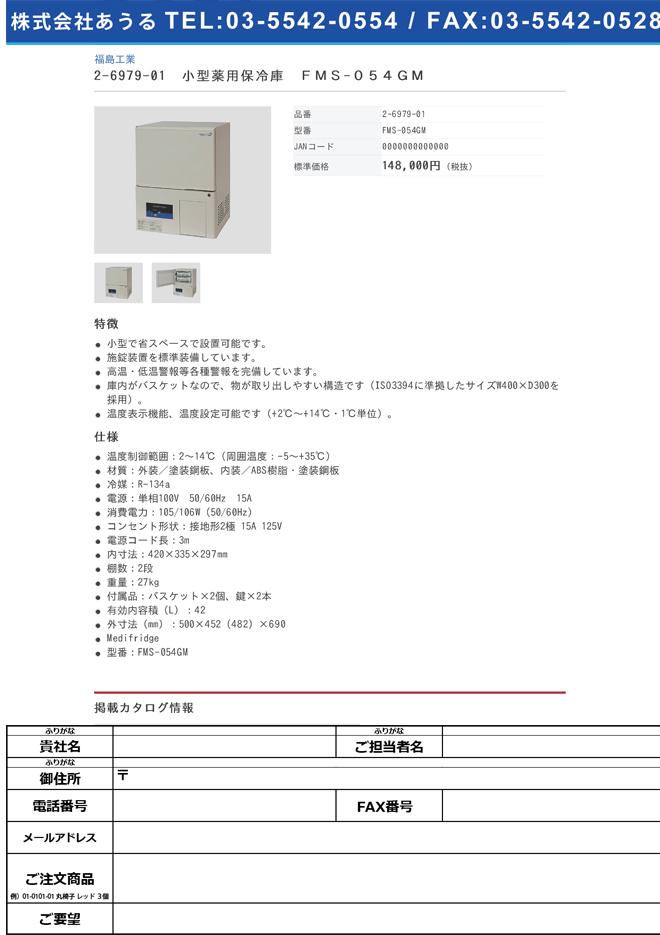 2-6979-01 小型薬用保冷庫 FMS-054GM