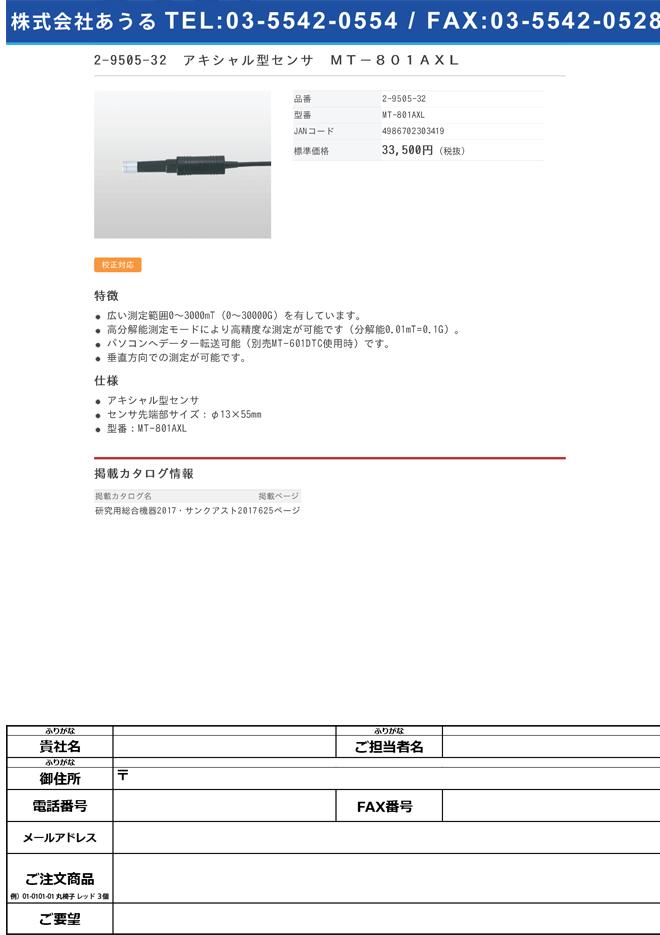 2-9505-32 ハンディテスラメーター用アキシャル型センサ MT-801AXL