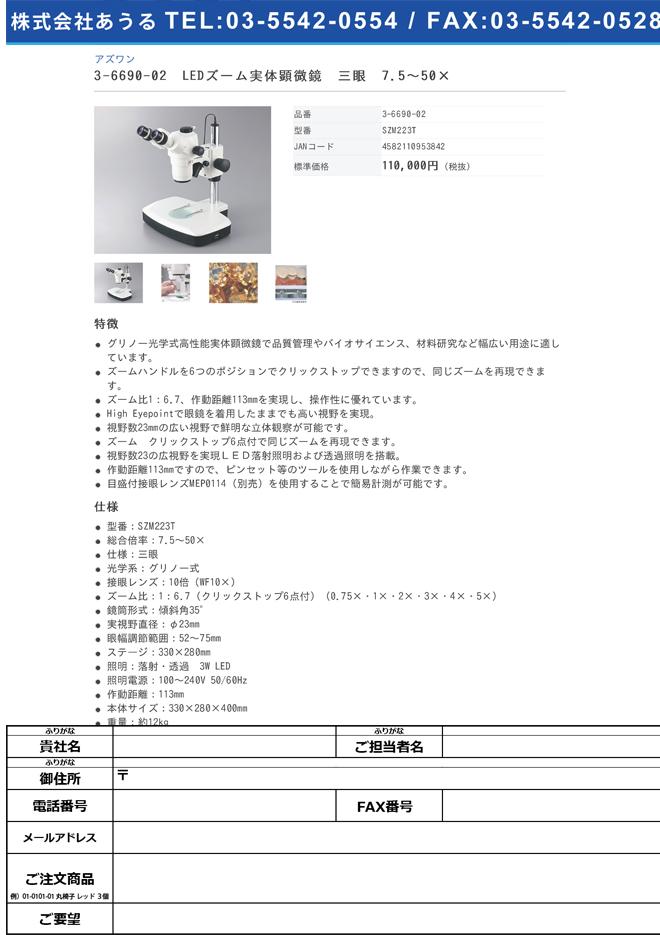 3-6690-02 LEDズーム実体顕微鏡 三眼 7.5~50× SZM223T
