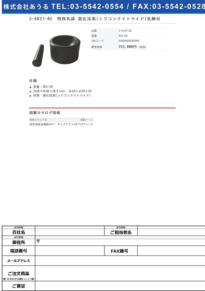 3-6837-02 特殊乳鉢 窒化珪素 乳棒付 NEX-80