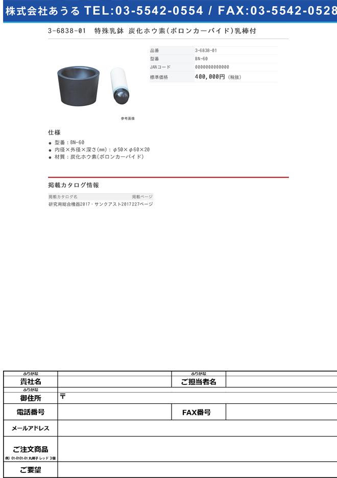 3-6838-01 特殊乳鉢 炭化ホウ素 乳棒付 BN-60